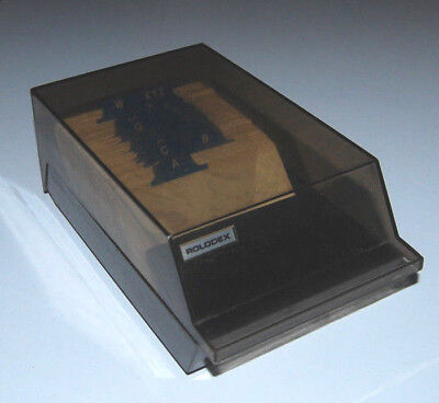 Rolodex Covered Business Card File A-z Tabs Vip24c Blank Cards Vtg Box Smoke