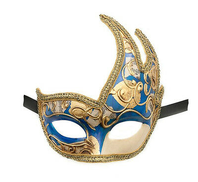 Mask from Venice Wolf Colombine Swan Musica Blue Authentic Venetian 419