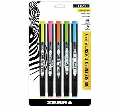 5 Pc Double Ended Medium Fine Tip Bible Study Highlighter Marker Set Multicolor