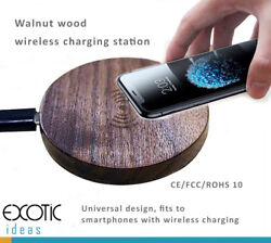 iPhone8 / 8 Plus, Samsung, Nokia Walnut Wood Wireless Charging Station Charger