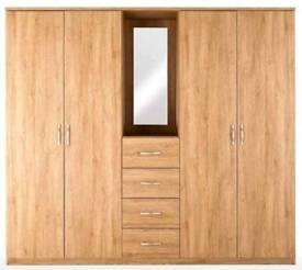 Peru 4-Door, 4-Drawer Combi Fitment Wardrobe. NEW OAK**NEW** H 181.5cm, W 200cm, D 51.4 cm