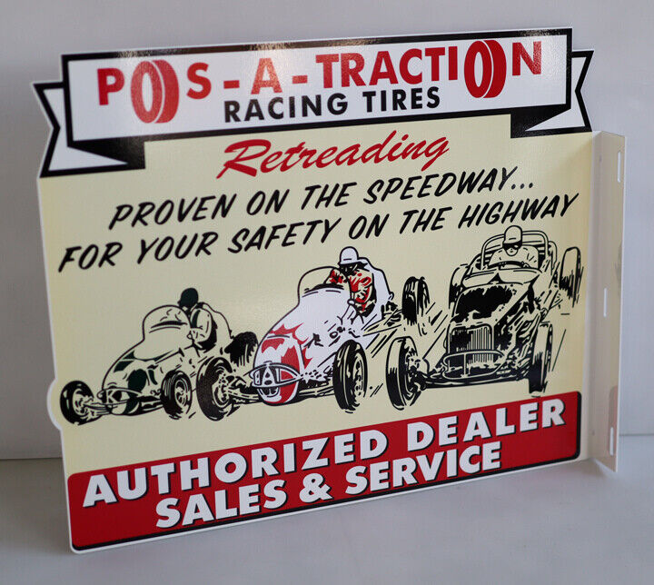 P0S-A-TRACTI0N Race Car Flange Sign   Hot Rod gas oil  Modern Retro