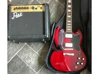 Westwood Cherry Red Elec Guitar plus accessories