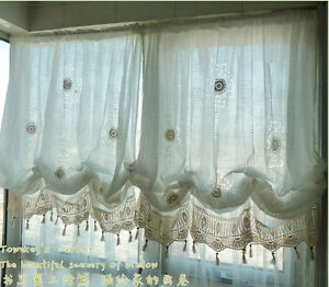 Adjustable balloon shade crochet hollow out sheer curtain scalloped