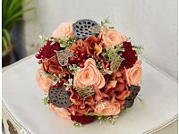 Artificial wedding bouquet with autumnal theme
