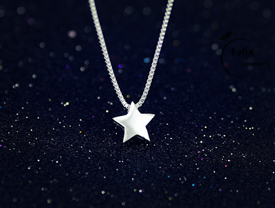 Jewellery - Lovely Star Pendant 925 Sterling Silver Necklace Chain Womens Jewellery Gift UK