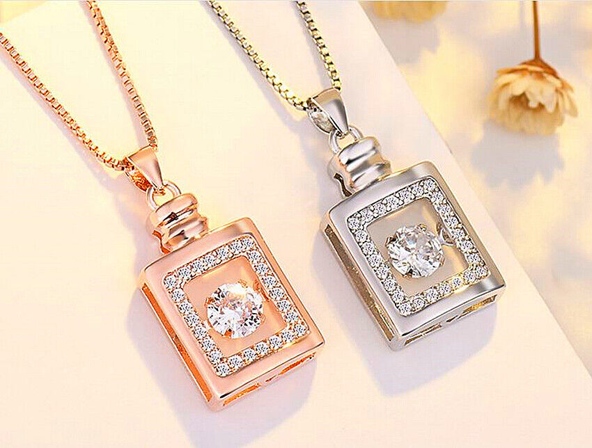 Jewellery -  Perfume Bottle Pendant 925 Sterling Silver Chain Necklace Womens Jewellery Gift