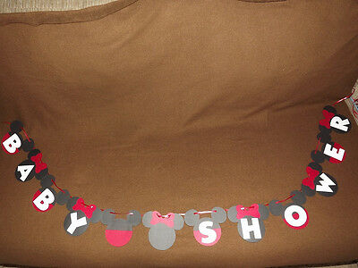 Mickey Mouse or Minnie Mouse( Red or Pink bows) Baby Shower Banner.  - Red Minnie Mouse Decorations