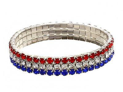 KIRKS FOLLY  Red White and Blue USA Patriotic Stretch Bracelet  ~ silvertone - Red White And Blue Bracelet