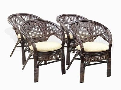 (Set of 4 Pelangi Dining Armchairs Design Handmade Rattan Wicker, Dark Brown)