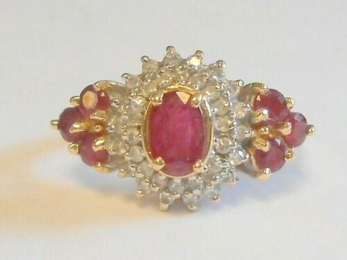 Stunning Vintage 1.5 TCW Red Ruby Diamond Halo 14K Yellow Gold Ring Size 7