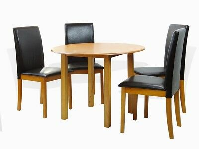 Maple Round Chair (Dining Kitchen 5 Pcs SET Round Table 4 Fallabella Chairs, Maple )