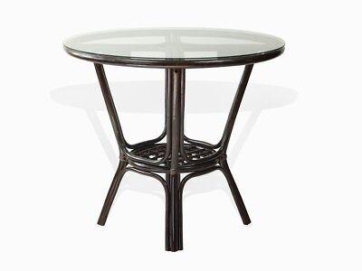 (Pelangi Natural Rattan Wicker Round Dining Table GlassTop, Dark Brown)