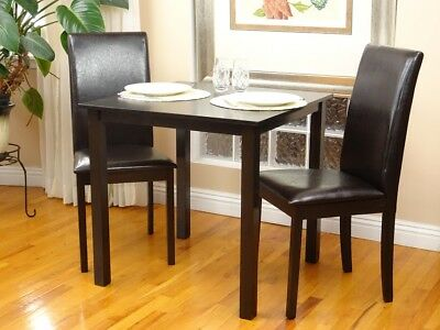 3 Pcs Dining Room Kitchen Set Square Table and 2 Fallabella Chairs Espresso