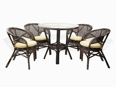 - 5 Pcs Pelangi Natural Rattan Wicker Dining 4Armchairs and Round Table Dark Brown