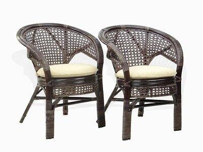 (Set of 2 Pelangi Dining Armchairs Design Handmade Rattan Wicker ECO, Dark Brown)