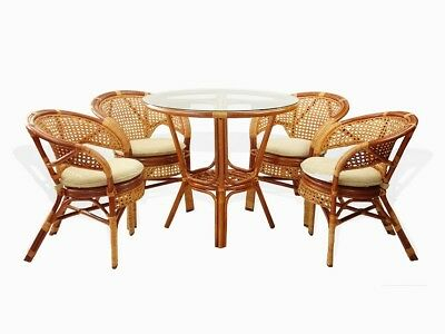 - Set of 5 Pelangi Natural Rattan Wicker Dining 4 Armchairs and Round Table,Cognac