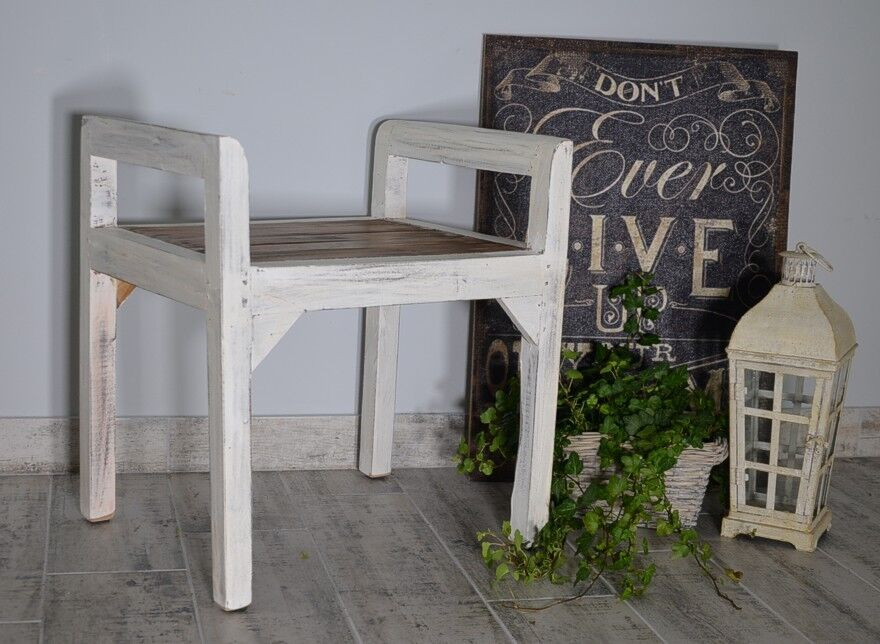 BENCH SEAT SEATER SETTEE CHAIR FRENCH WHITE OTTOMAN WOOD VINTAGE RETRO ANTIQUE