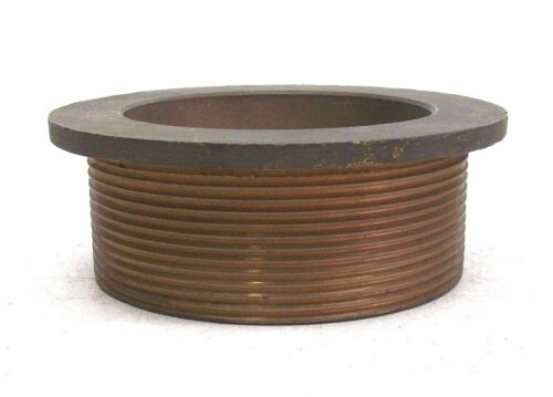 """NOS SOLID BRASS 4"""" FLOOR ROOF DRAIN RECEIVER COLLAR 4"""" PIPE THREAD KB"""