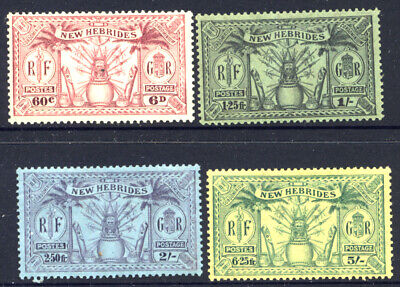 New Hebrides 6d, 1/-, 2/- and 5/- Fine MH SG 48/51 Cat £22