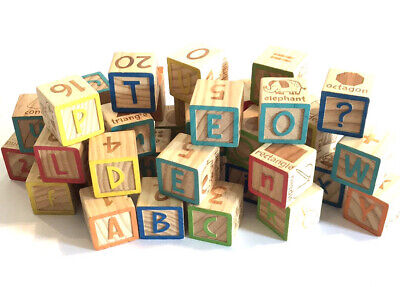 50 Wooden Blocks ABC Alphabet and Number Vowels Wood Toy Letters Math Reading