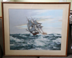 Framed Sailboat Painting - Montague Dawson - 'Dawn Chase'