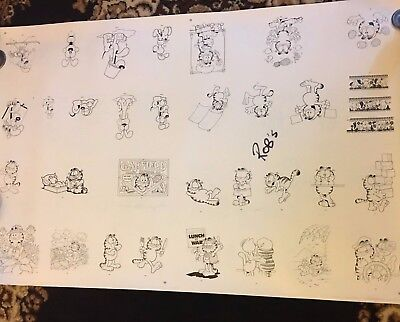 Lot Of 13 Garfield Comics Black And White Prints On Paper. Printed Both Sides.