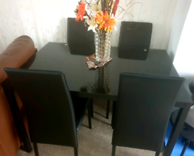 Black 4 Chair Dining Table