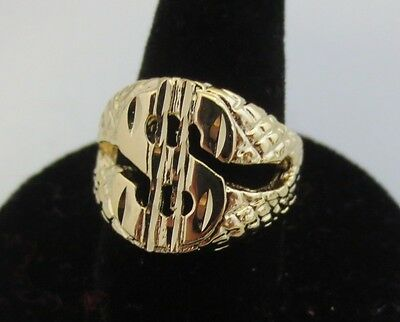 SIZE 8-13 MENS 14KT GOLD EP  DOLLAR SIGN $ MONEY BLING HIP HOP  DESIGNER RING