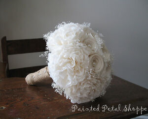 Ivory Coffee Filter Wedding Bouquet/ Rustic Wedding Bouquet
