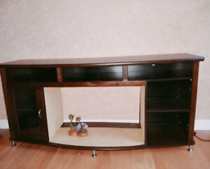 Mahogany Brown 58-inch TV table stand shelf