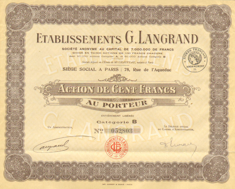 G. Langrand Company > Paris France bond certificate
