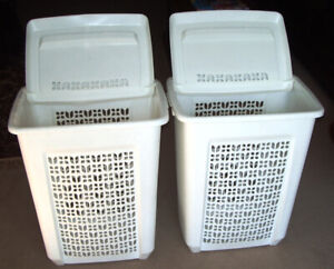 2 LAUNDRY HAMPERS- RUBBERMAID 75L RECTANGULAR WITH LIDS