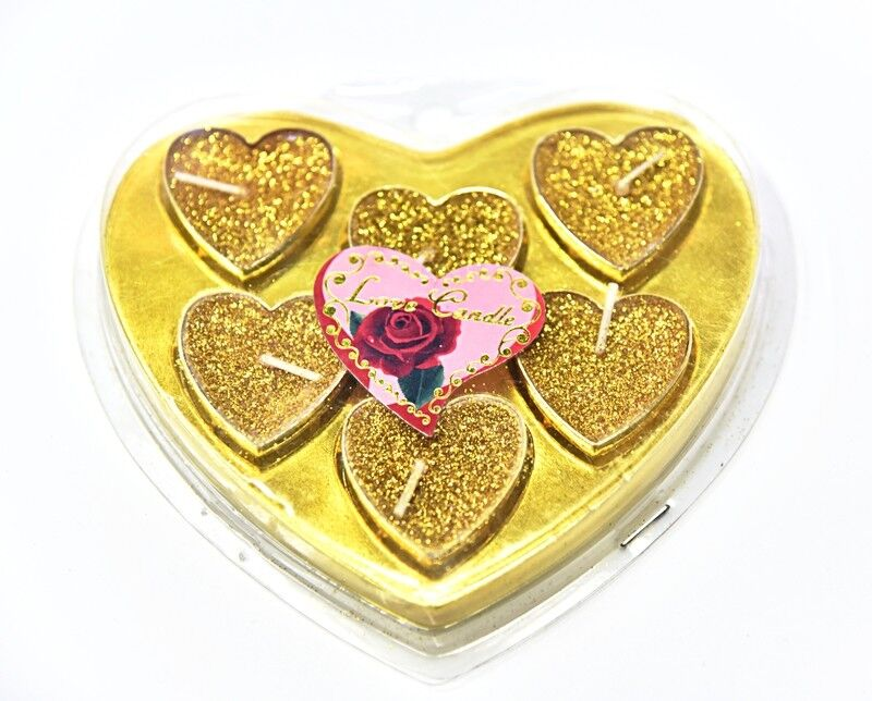 6 pcs Gold Boxed Luxury Love Heart Tea Lights for all Special Occasions C07