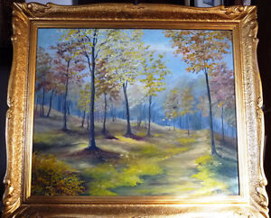 "Original Landscape Painting by H. Brown ""Enchanted Woods"" 1940's Stratford Kitchener Area image 1"