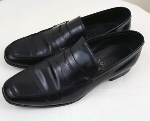 TOD'S Mens Black Leather Penny Loafers Shoes Size 6 A