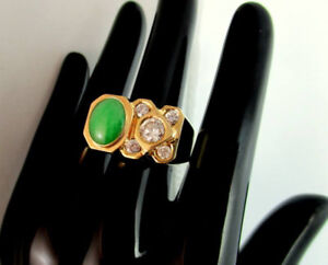 SUPERBE BAGUE OR 14K.DIAMANTS 1.10 CT.CENTRAL 0.71CT.JADE 2CTS
