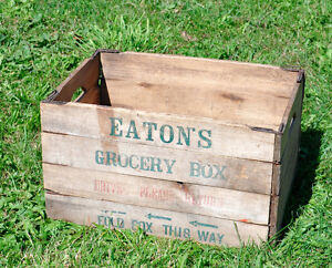 Folding Eaton's Wooden Crate