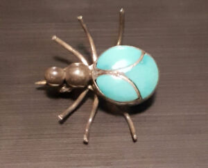 Vintage Native American Silver Turquoise Spider Brooch