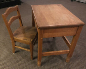 Antique solid oak childs school desk and chair