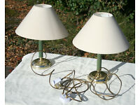Two Metal Lamps Gold and Green plus Cream Shades, Furnishings rented/holiday property