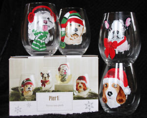 Clear Stemless CHRISTMAS DOG Wine Glasses Exclusively from Pier