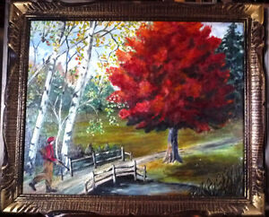 "Original Landscape, Folk Art by C. Winfield ""Early Autumn Hunt"""