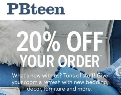 PbTeen Pottery Barn Teen 20% off 1coupon (include furnitures)