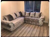 Velvet crush corner sofa