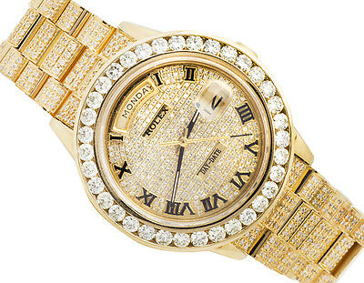 Excellent 18K Yellow Gold Rolex 18038 Day-Date Presidential Diamond Watch 14 Ct