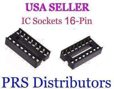 Ic Socket 16-pin Dip Solder Type Pc Mount 16 Pin Ic Socket 10 Pieces Usa Seller