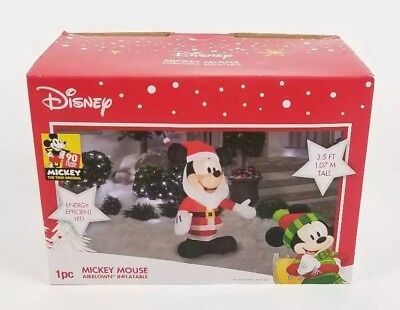 Disney Mickey Mouse Santa Airblown Inflatable Christmas 3.5 Ft Tall Gemmy LED