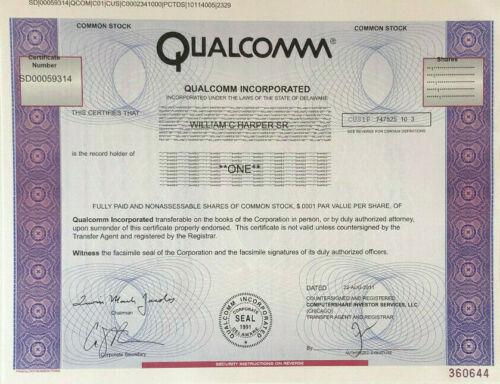 Qualcomm stock certificate
