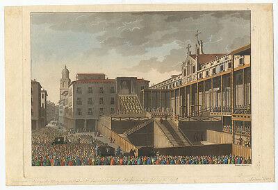 Autodafé in Valladolid/Spanien 1559. - Aquatinta, ca. 1820